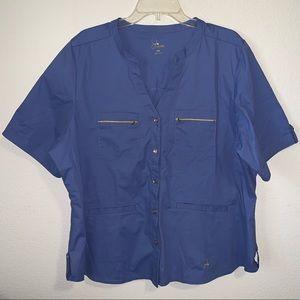 Jaanuu Scrub Top Shirt Zippered Pockets 2XL EUC